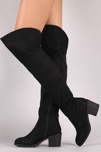 Chunky Heeled Over-The-Knee Boots For Women By Bamboo | Shop Women's Fashion Suede Round Toe Chunky Heeled Over-The-Knee BootsWomen's Sandal Women's Thigh High Over The Knee Wide Boots