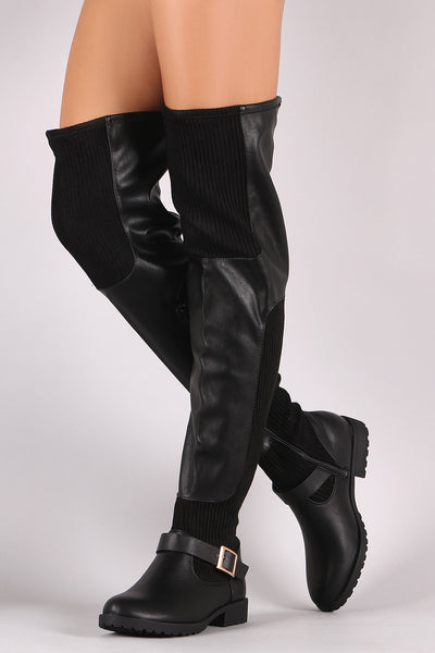 Leather Ribbed Knit Buckled OTK Riding Boots For Women By Bamboo | Womens Almond Toe Over The Knee Low Flat Heel Stretchable Ribbed Knit Buckle Riding Boots