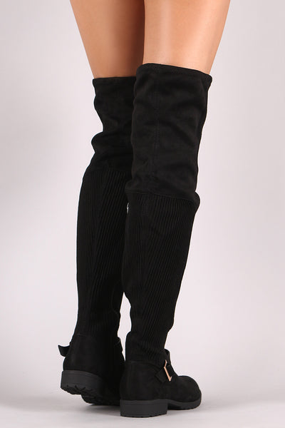 Bamboo Suede Ribbed Knit Buckled Over-The-Knee Riding Boots