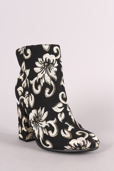 Bamboo Two Tone Floral Accent Chunky Heeled Booties