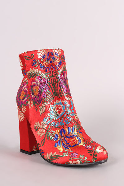 Floral Brocade Chunky Heeled Booties For Women By Bamboo | An Almond Toe Silhouette, Satin Upper With Floral Brocade Design And Chunky Wrapped Heel For Women