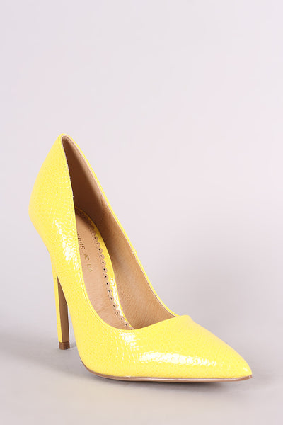 Snake Embossed Pump For Women By LUD | Shop Women's Fashion Lovely Stylish Fashionable Snake Embossed Pointy Toe Silhouette Scoop Vamp Slim Stiletto Pump