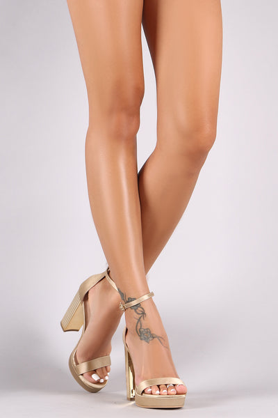 Shoe Republic LA Satin Ankle Strap Chunky Metallic Platform Heel