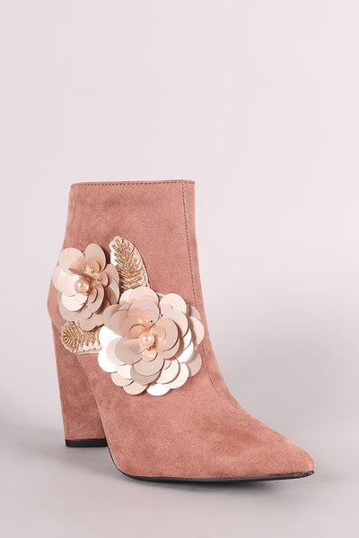 Qupid Suede Sequin Floral Applique Chunky Heel Booties