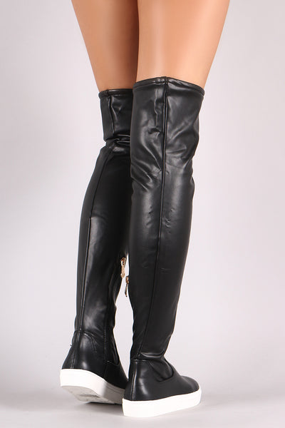 Round Toe Over-The-Knee Sneaker Boots