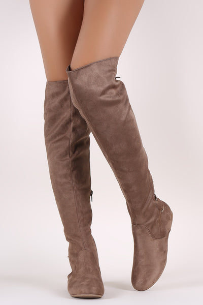 Wild Diva Lounge Suede Back Lace-Up Over-The-Knee Flat Boots