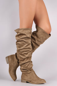 Wild Diva Lounge Suede Slouchy Riding Knee High Boots