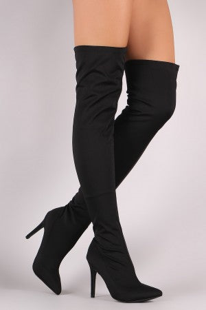 Fitted Elastane Pointy Toe OTK Boots For Women By Wild Diva | Shop Women's Fashion Fitted Over The Knee Style Single Sole Pointy Toe And Stiletto OTK Heel