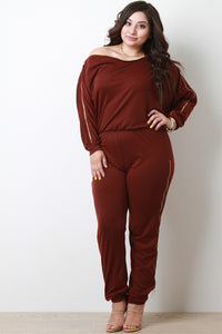 Long Sleeve Zipper Jumpsuit By Zipper Trim Bateau Long | Adjustable Zipper Trim Bateau Long Sleeves Jumpsuit