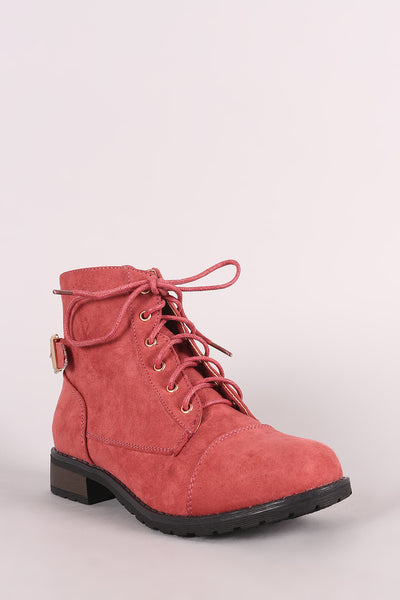 Bamboo Suede Buckled Lace-Up Combat Ankle Boots