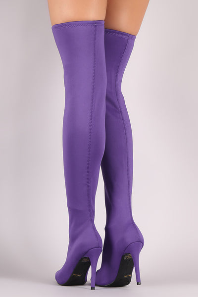 Stretched Elastane Over-The-Knee Boots For Women By LUD | Shop Women's Fashion Pointy Toe Stiletto Slightly Stretched Elastane Over-The-Knee Boots Fashionista's Delight For Womens