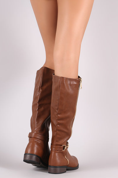 Horsebit Riding Knee High Boots For Women By Bamboo | Women Fashion Horsebit Zipper Trim Riding Knee High Boots Side Zipper Trims Horsebit Ankle Strap Low Block Heel boots For Women