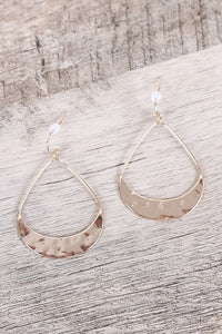 Hammered Pear Shape Dangle Earrings For Women By LUD | Shop Women's Fashion Gold cutout hammered metal pear shape convex earring Fashion Jewelry