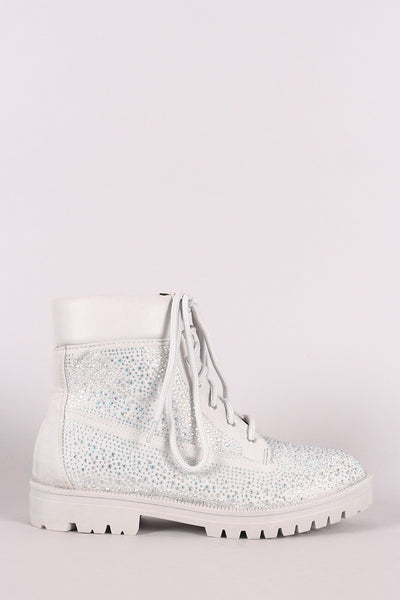 Sexy Ankle Booties For Women By Qupid | Shop Women's Fashion Lovely Stylish Fashionable Round Toe Silhouette Rhinestone Embellished Lace Up Combat Ankle Boots