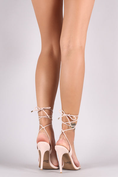Qupid Suede Clear Open Toe Leg Wrap Stiletto Heel