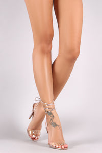 Qupid Metallic Clear Open Toe Leg Wrap Stiletto Heel