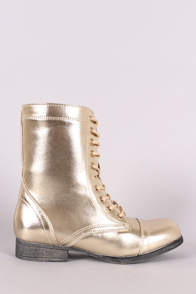Bamboo Metallic Lace Up Combat Ankle Boots