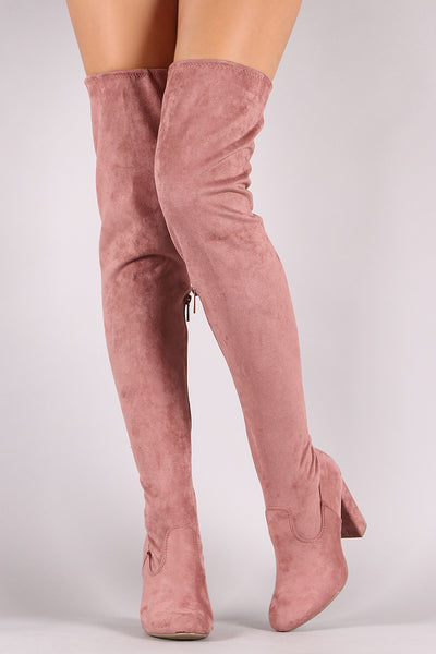 Bamboo Suede Drawstring-Tie Chunky Heeled Over-The-Knee Boots