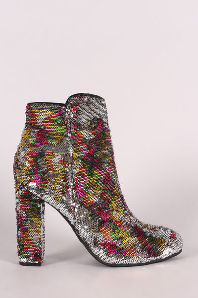 Shoes For Women Booties By LUD | Bamboo Colorful Sequin Chunky Heeled Booties For Women A High Heel Booties For Women Colorful chunky heel Booties For Women Almond Toe Silhouette, Multi-Color Boots For Women