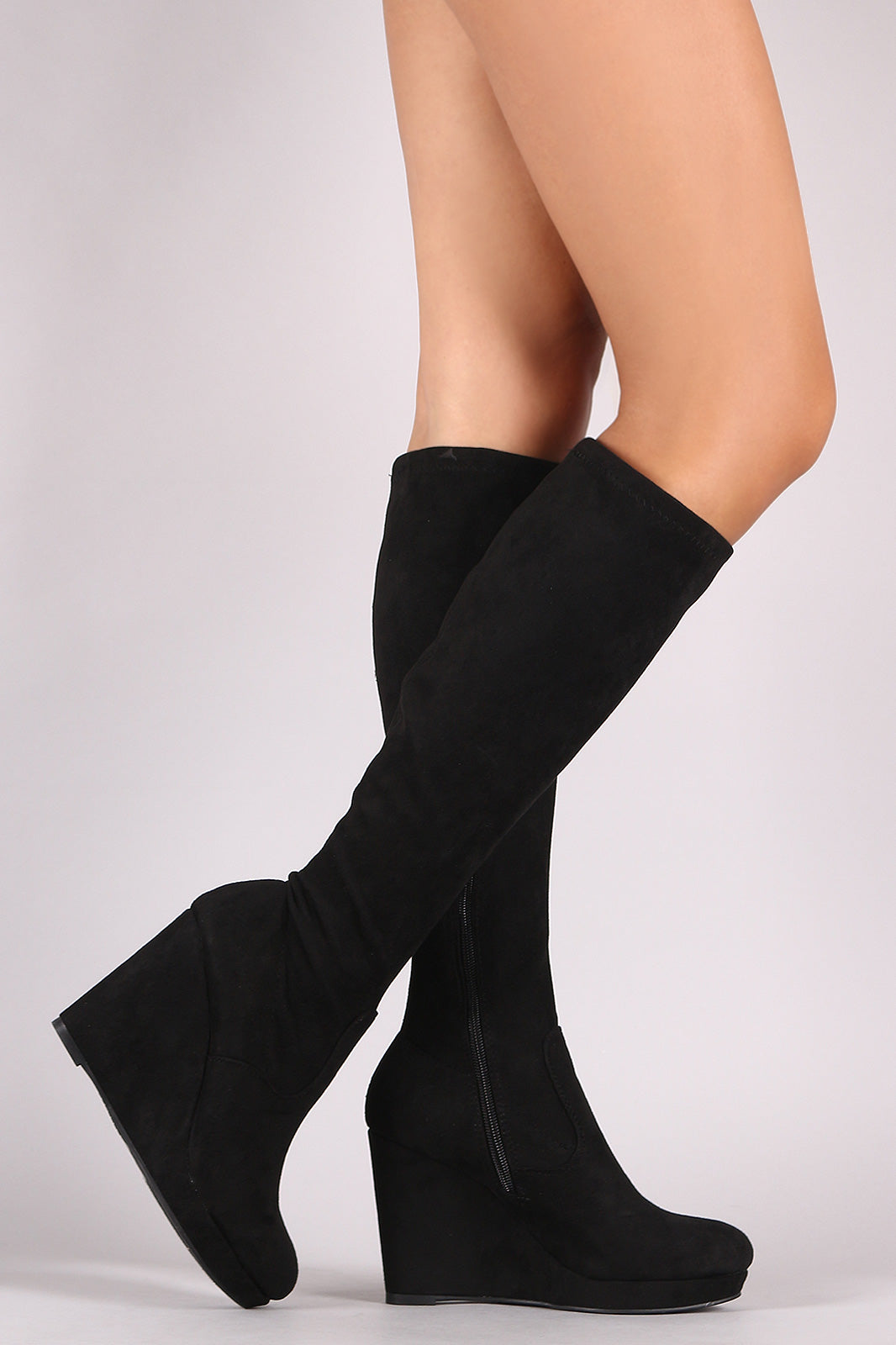 Bamboo Stretched Suede Knee High Wedge Boots