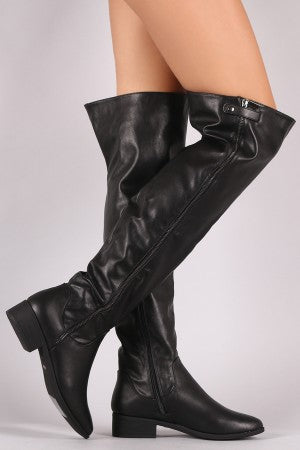Vegan Leather Waterproof Zipper Boots By Bamboo | Zipper Trim Over-The-Knee Riding Boots