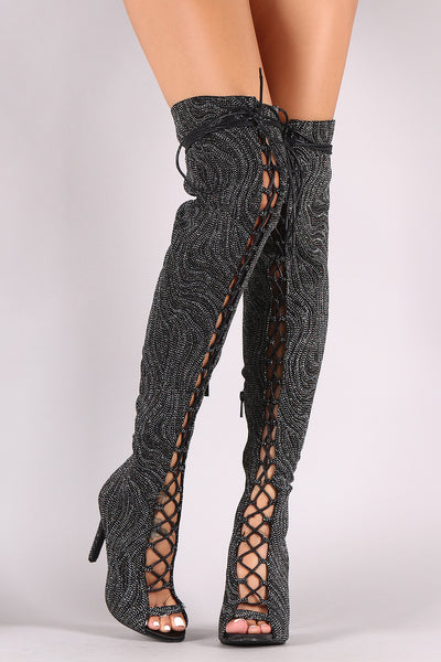 Glitter Lace Up Women Booties By Anne Michelle | Glitter Lace Up Stiletto Over-The-Knee Boots For Women A Peep Toe Silhouette Glitter Shaft and Wrapped Stiletto Over the Knee heel Booties