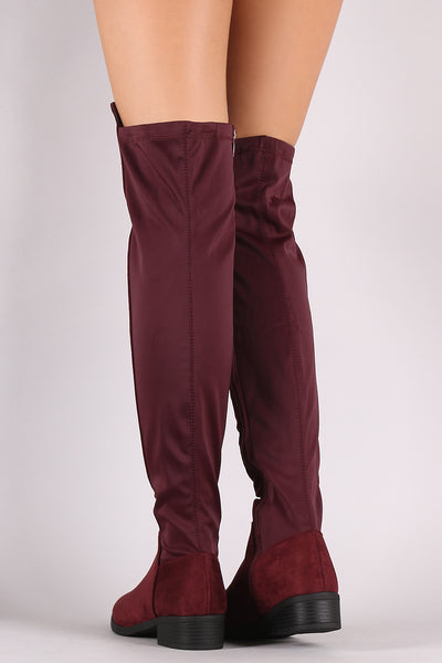 Suede Elastane Panel Over-The-Knee Riding Boots
