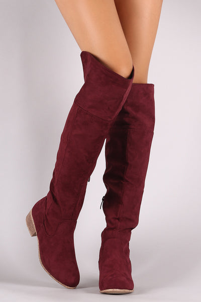 Suede Cuffed Riding Over-The-Knee Boots
