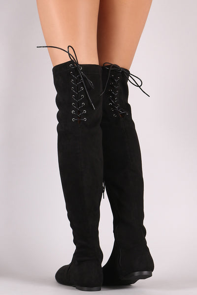 Suede Back Lace-Up Fitted Over-The-Knee Flat Boots