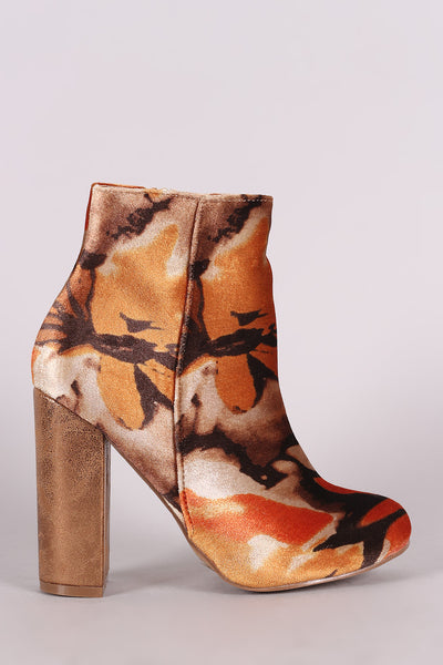Shoe Republic LA Abstract Floral Velvet Chunky Heeled Booties