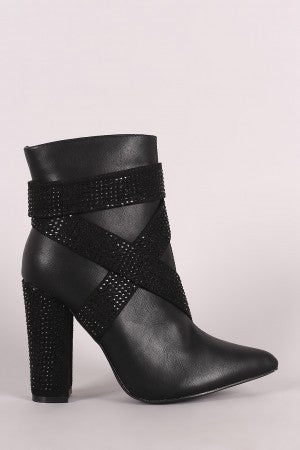 Chunky Heeled Ankle Boots For Women By LUD | Shop Women's Fashion Lovely Stylish Fashionable Pointy Toe Silhouette Wrapped Around Strappy Sparkling Rhinestone Accent Stylish Chunky Heeled Ankle Boots