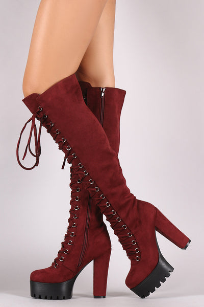 Suede Corset Lace-Up Lug Sole Platform Heeled OTK Boots