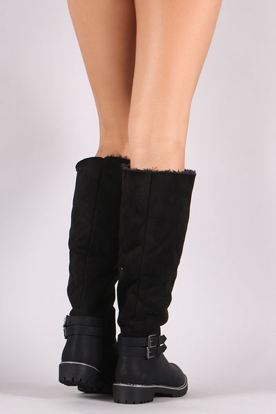 Womens High Riding Boots By Qupid | Women Boots Suede Faux Fur Lined Riding Knee High Boots A Soft Vegan Suede Shaft With Cozy Faux Fur Lining Rounded Toe Lug Sole And Low Block Heel