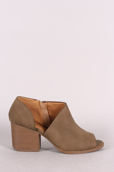 Qupid Distressed Nubuck Open Shank Block Heeled Booties