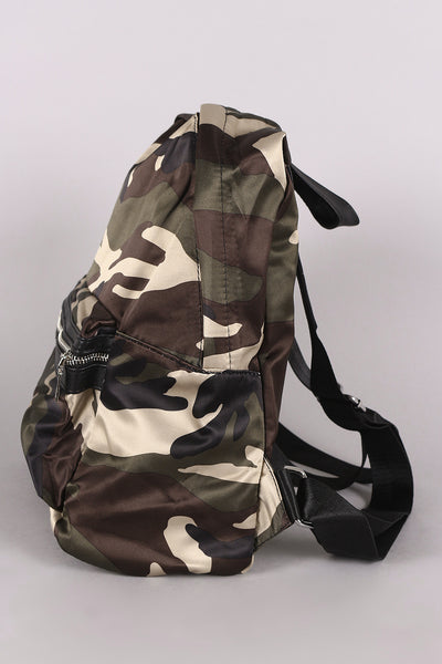 Camouflage Print Satin Backpack