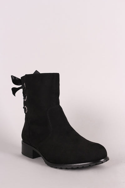 Suede Back Satin Ribbon Lace-Up Ankle Booties