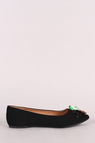 Qupid Nubuck Sequin Floral Applique Pointy Toe Flat