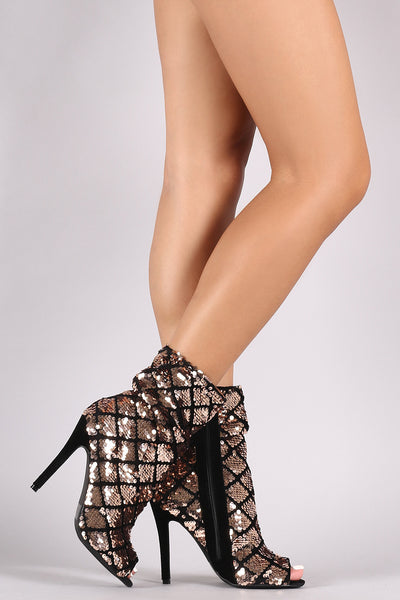 Qupid Patterned Sequin Velvet Peep Toe Slouchy Booties