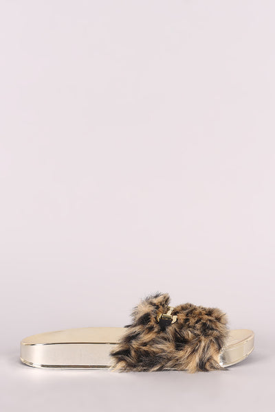 Qupid Horsebit Leopard Faux Fur Jelly Slide Sandal