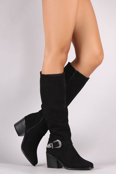 Bamboo Suede Buckled Western Chunky Heeled Knee High Boots
