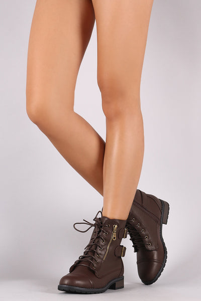 Bamboo Buckle And Zipper Trim Lace-Up Combat Ankle Boots