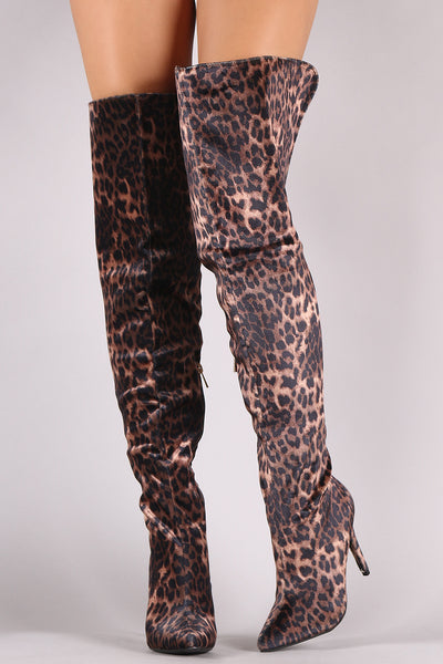 Velvet Leopard Over-The-Knee Boots By Anne Michelle | Velvet Leopard Pointy Toe Stiletto Over-The-Knee Boots For Women Leopard velvet Fabrication Pointy Toe Silhouette slim Stiletto Heel For Women
