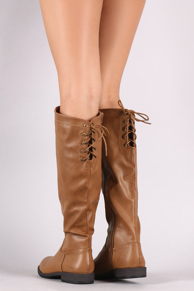 Bamboo Leather Almond Toe Back Lace-Up Riding Knee High Boots
