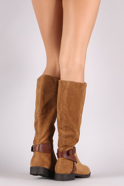 Bamboo Suede Buckled Strap Riding Knee High Boots