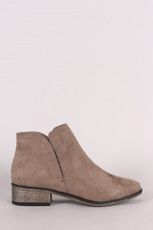 Bamboo Suede Side Slit Booties