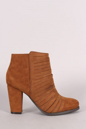 Bamboo Suede Slashed Chunky Heeled Ankle Boots