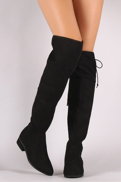 Bamboo Suede Back Lace-Up Over-The-Knee Riding Boots