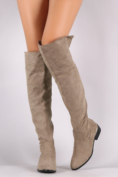 Cuffed Riding Over-The-Knee Boots For Women By Bamboo | Fashion Women Suede Almond Toe And Fold-over Cuffed Riding Over-The-Knee Boots Also Cuff can be folded up or down for two different