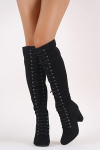 Qupid Suede Corset Chunky Heeled Boots