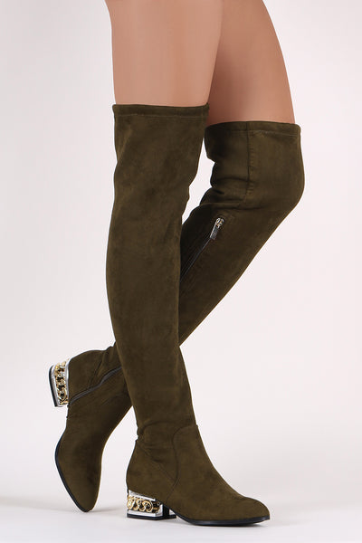Bamboo Suede Chained Embellished Heeled OTK Boots